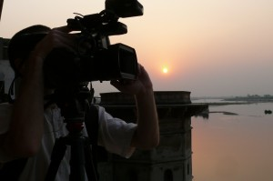 A signature sunset at Keshi Ghat. A multi-award winning 'Reconnection' was an unusual project by all means. Filming it was a mix of awe inciting experiences of an ancient culture but it was also a non-ending challenge of shooting in a remote dusty Indian town with regular power outages and no access to proper infrastructure.