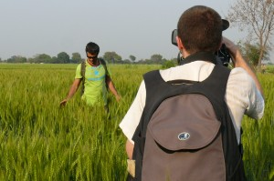 A walk in a field, simple task. Not so simple if you can't see what's behind your feet. Armand Gachet walks in Vrindavan fields on the set of the 'Reconnection', a multi-award winning film.