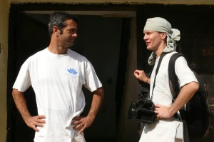 Nice clean t-shirt! So you ready for the Holi scene? Armand Gachet, lead actor, and Maksim Varfolomeev, film director, on the set of 'Reconnection', an award-winning film.
