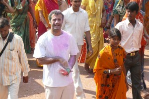 Here you go! Armand Gachet, a lead actor, in the middle of the Holi festival scene from 'Reconnection', a multi-award winning film.