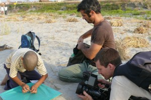 Getting ready to shoot the kite scene. The set of the 'Reconnection', an award-winning film, at the bank of the Yamuna river, Vrindavan.