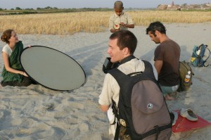 Do you think it's actually gonna fly? Filming the kite scene, the bank of the Yamuna river, Vrindavan. At the set of 'Reconnection', a multi-award winning film.