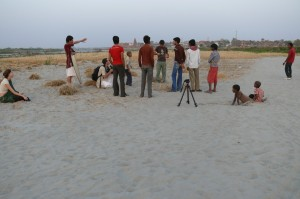 We had to head out at around 4am to reach the location by sunrise and start filming. By 8-9am it was already getting too hot, so we had to get our filming done and wrap up before that. Shooting a kite scene from the 'Reconnection', an award-winning film. The bank of the Yamuna river, Vrindavan, India.