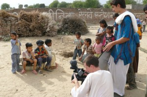 You set to film a scene with one village boy, you end up with the whole village gather around as a free extra. Filming a scene with Rishabh, one of the key characters of 'Reconnection', a multi-award winning film.